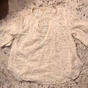 Rebecca Taylor cream lace trim blouse 6